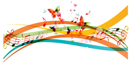 Colorful background with music notes and butterflies