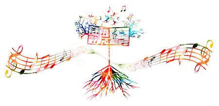 Colorful background with music stand
