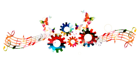 Colorful music notes background with gears. Creativity in music