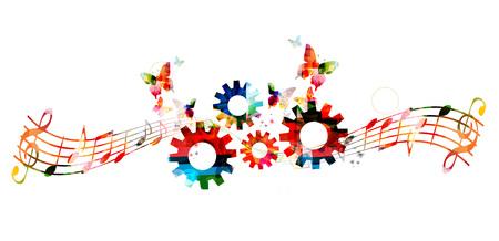 colorido de la música observa el fondo con los engranajes. La creatividad en la música
