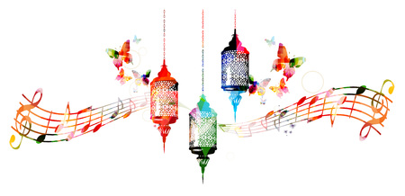 religious music: Colorful lamps for Ramadan with music notes
