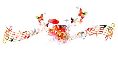 다채로운 드럼 디자인입니다. 음악 배경 일러스트