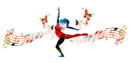 Colorful music background with woman dancing Çizim