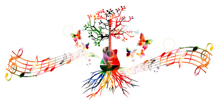 Colorful music background with guitar Stok Fotoğraf - 52876758