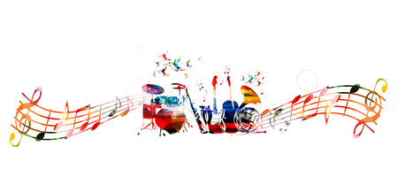 Colorful music instruments background Stock Vector - 53306248