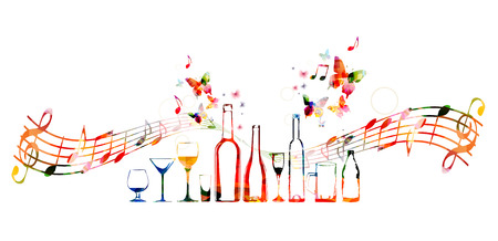 Colorful design with bottles and butterflies Illustration