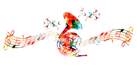 horns: Colorful french horn with hummingbirds