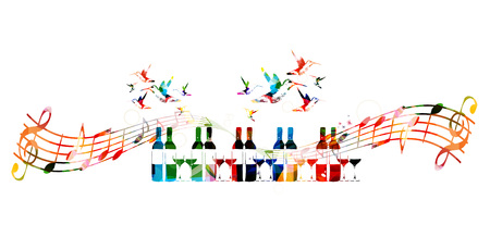 Colorful design with bottles and hummingbirds