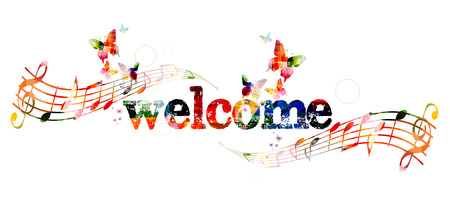 abstract music: Welcome inscription with butterflies