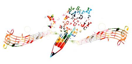 key words art: Creative writing concept Illustration