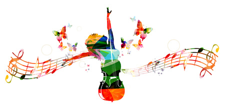 Colorful music background with woman and violoncello Ilustração