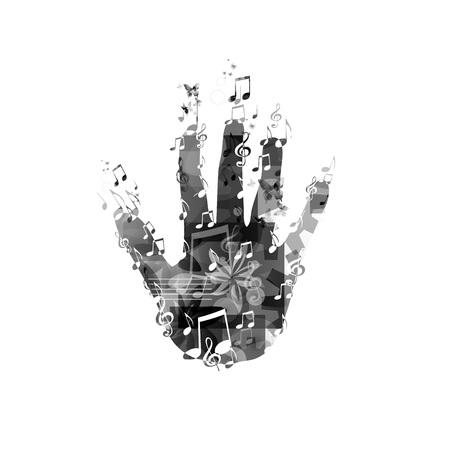 Hand met muzieknoten