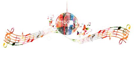 crotchets: Colorful disco ball background Illustration