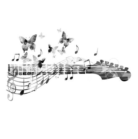 g clef: Guitar fretboard with butterflies Illustration