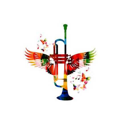 Colorful trumpet with wings Imagens - 55079228
