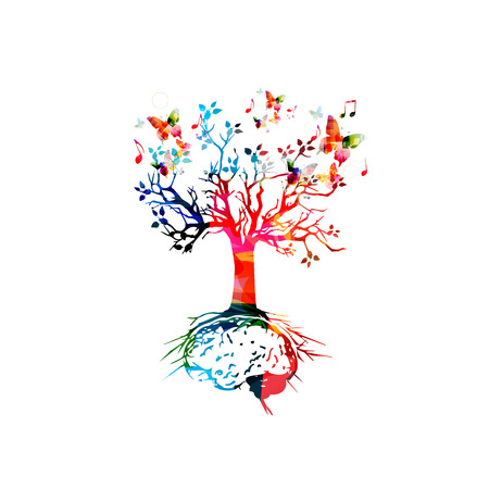 Árbol con la raíz del cerebro, intercambio de ideas concepto