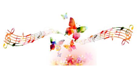 Fondo colorido con las notas de la música Foto de archivo - 55079486