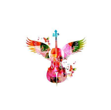 violoncello: Colorful violoncello with wings