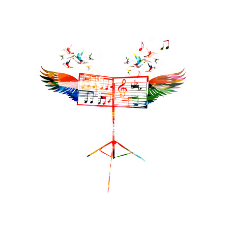music stand: Colorful music stand with wings Illustration