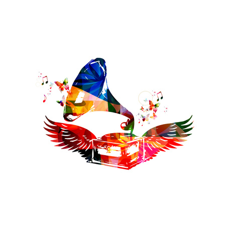 gramophone: Colorful gramophone with wings
