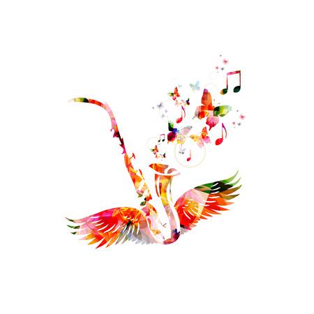 saxofon: saxofón colorido con las alas