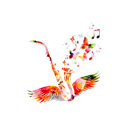 Colorful saxophone with wings