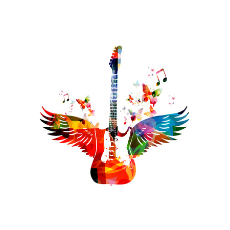 Colorful guitar with wings