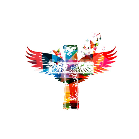 Colorful cross with wings Vectores