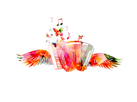 Colorful accordion with wings Illustration