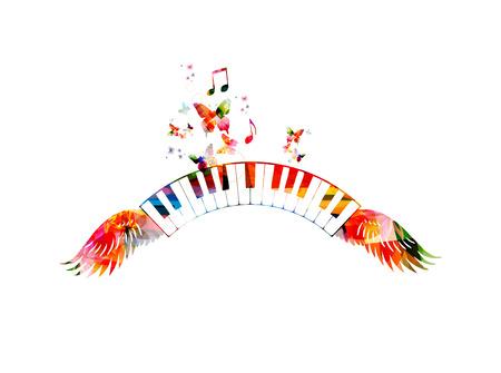 Kleurrijke piano toetsenborden met vleugels