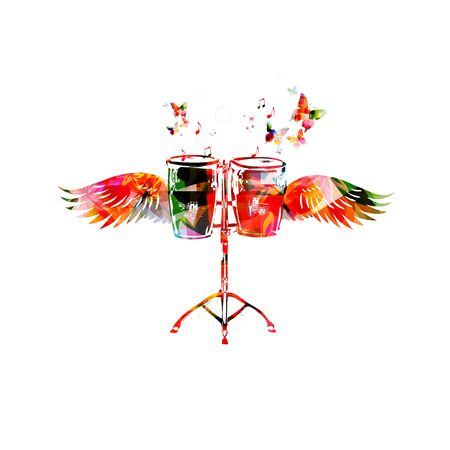 drums: Colorful bongo drums with wings