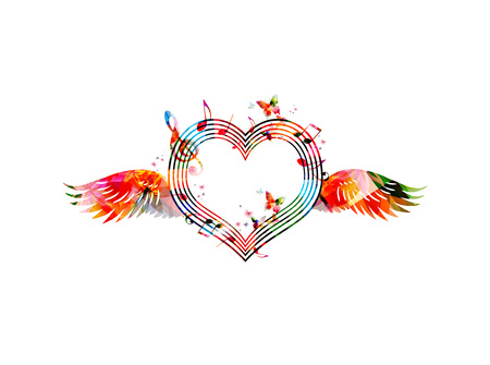 colorful heart: Colorful heart shaped stave with wings