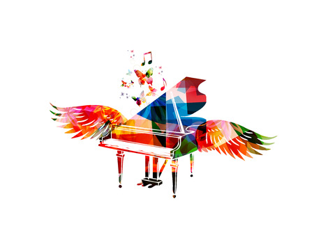 Colorful piano with wings Stock Illustratie