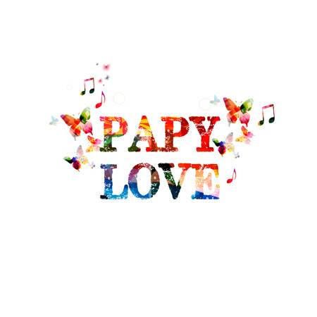 puppy love: Puppy love. Calligraphy phrase with butterflies Illustration