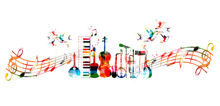 Colorful music instruments background with hummingbirds Stock Illustratie
