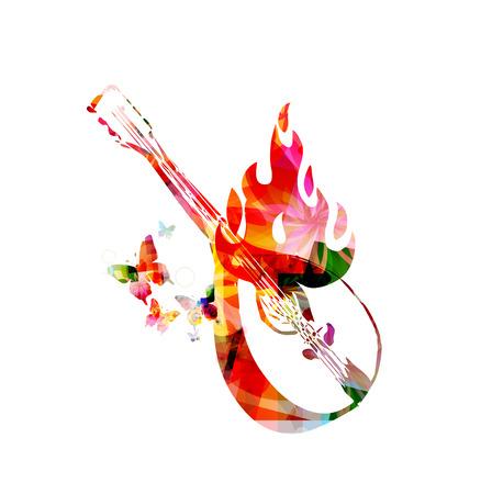 mandolin: Mandolin with butterflies on fire