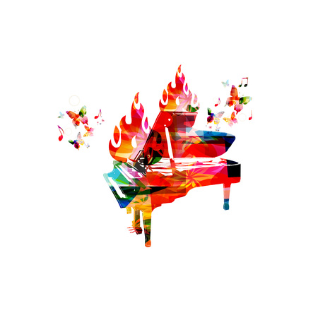 colourful fire: Piano on fire Illustration