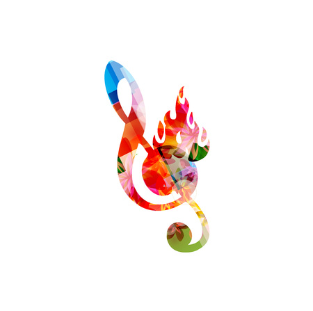 G-sleutel op brand Stock Illustratie