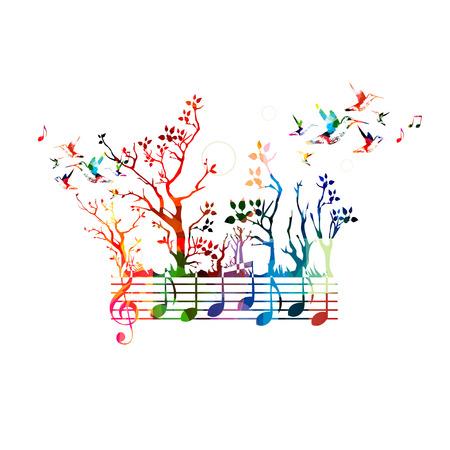 música de fondo colorido con las notas musicales y colibríes