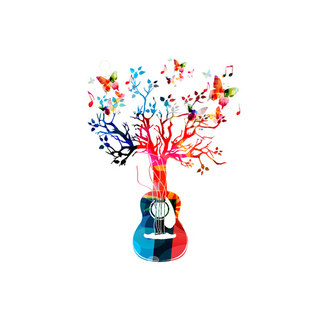 Colorful music background with guitar tree and butterflies Stok Fotoğraf - 56572322