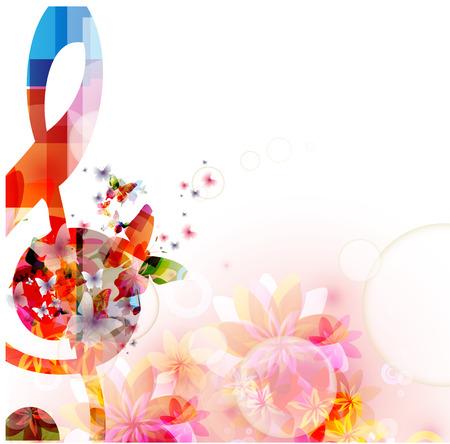 カラフルな音楽の背景にト音記号、蝶