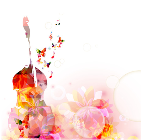 Colorful music background with violoncello and butterflies Ilustracja