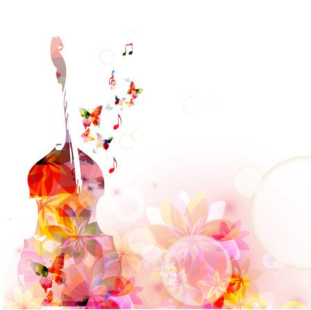 Kleurrijke muziekachtergrond met violoncel en vlinders Stock Illustratie