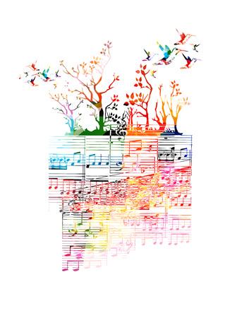 カラフルな音楽の背景に音楽ノート、ハチドリ