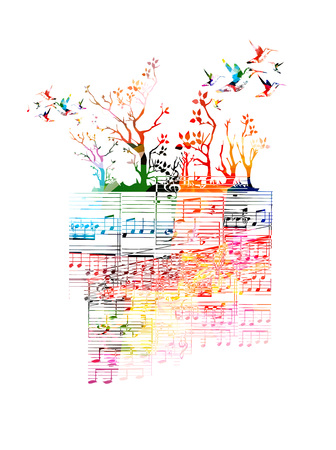 Colorful music background with music notes and hummingbirds Ilustração