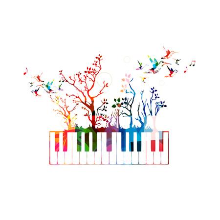 ピアノの鍵盤とハチドリのカラフルな音楽の背景  イラスト・ベクター素材