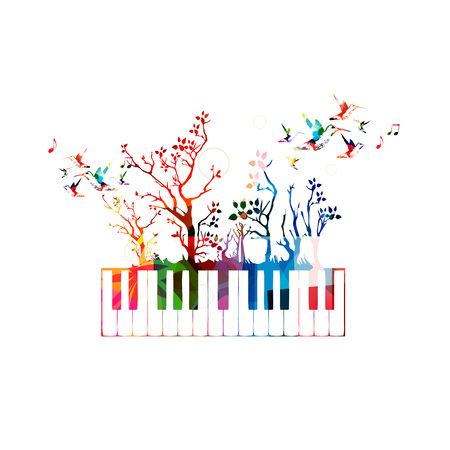 Colorful music background with piano keyboard and hummingbirds Vectores