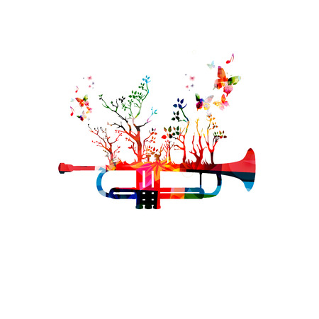 forest trees: Colorful music background with trumpet and butterflies