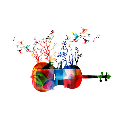 Colorful music background with violoncello and hummingbirds