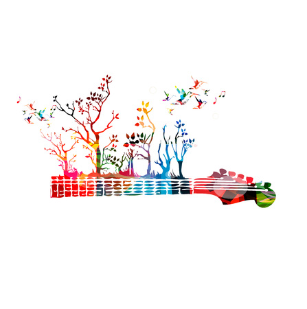 fretboard: Colorful music background with guitar fretboard and hummingbirds
